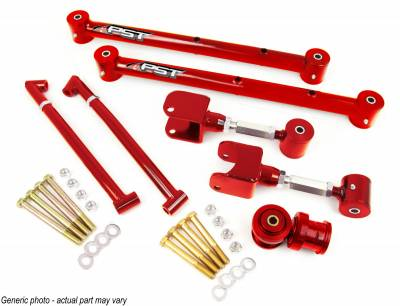 PST - Adjustable Red Tubular Rear Trailing Arm Kit